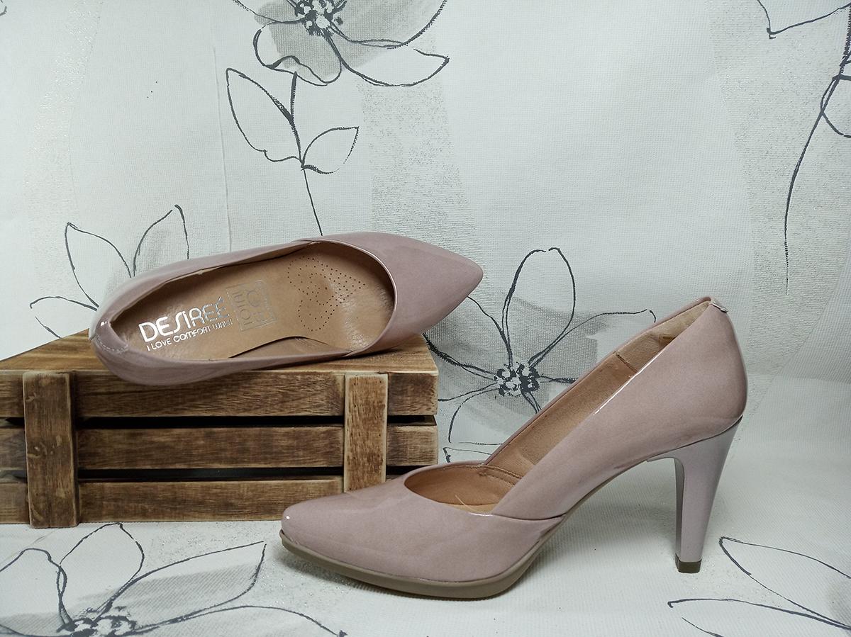 Desiree zapato de salon en charol -Nude