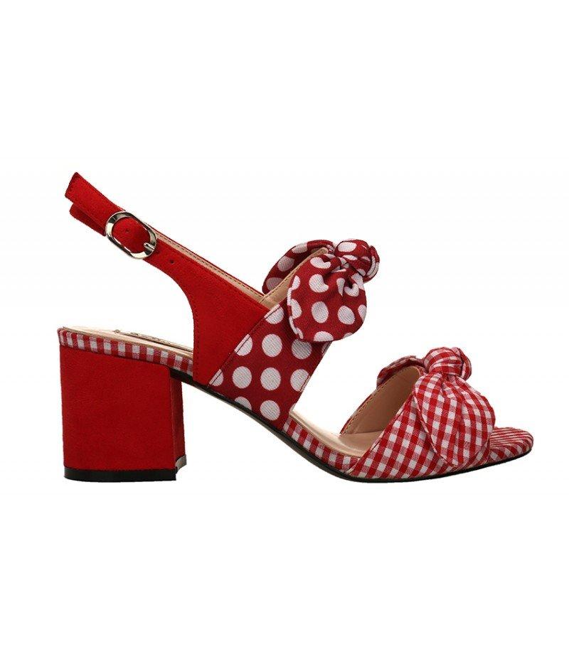 Sandalia de lazo con lunares y cuadritos - Rojo