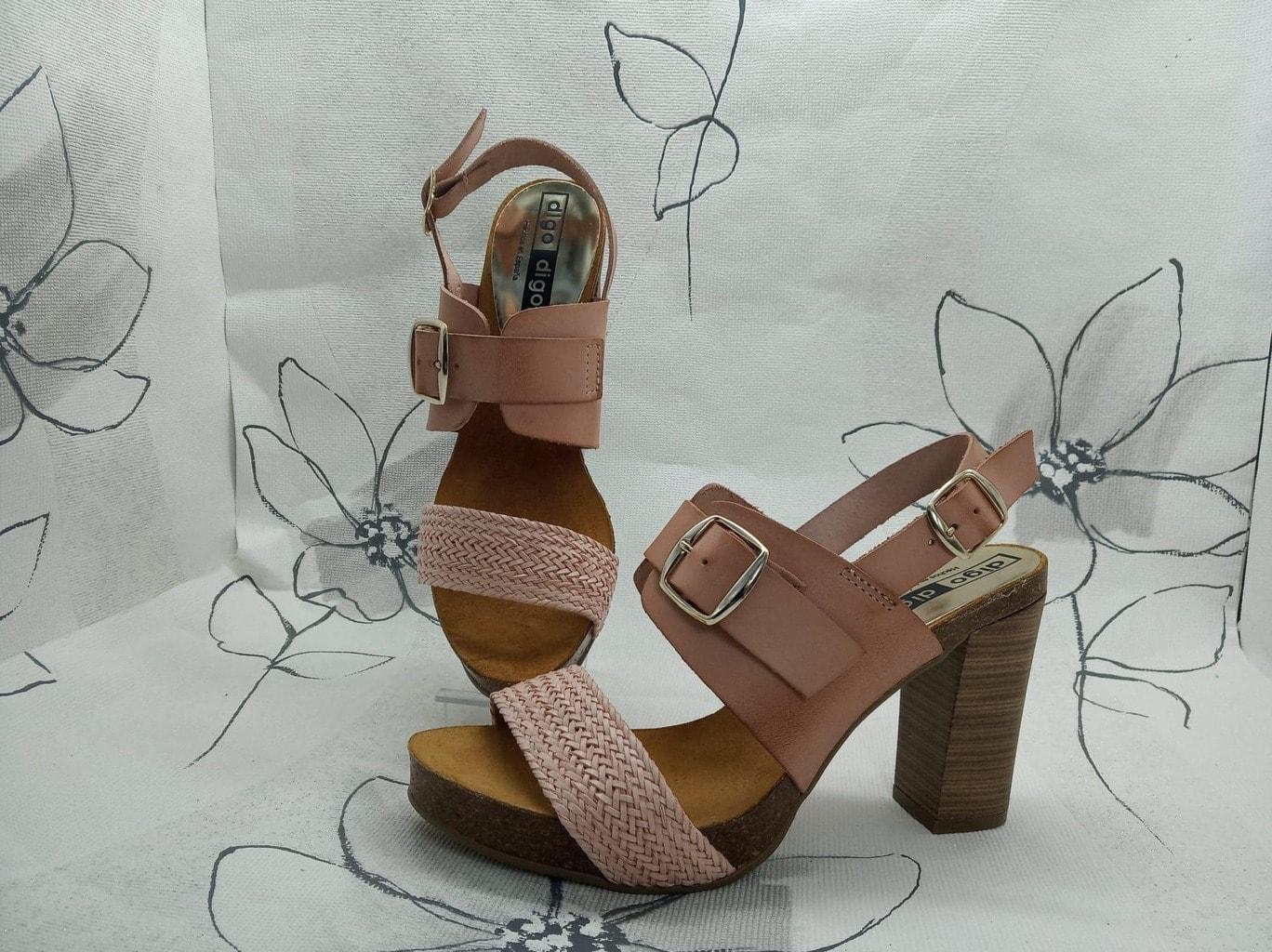 Sandalia de señora de tacon -rosa - Digo 7146 Talla 40