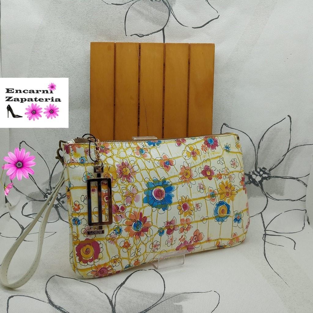 Bolso de mano en piel grabada de flores amarilla