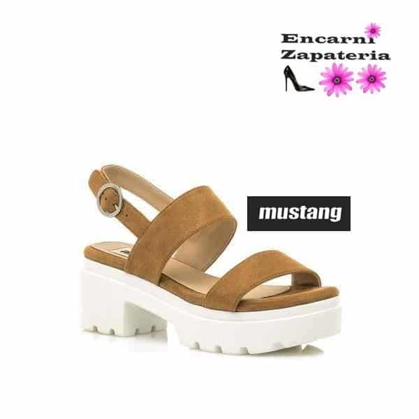 Sandalias con plataforma -Mustang- Camel