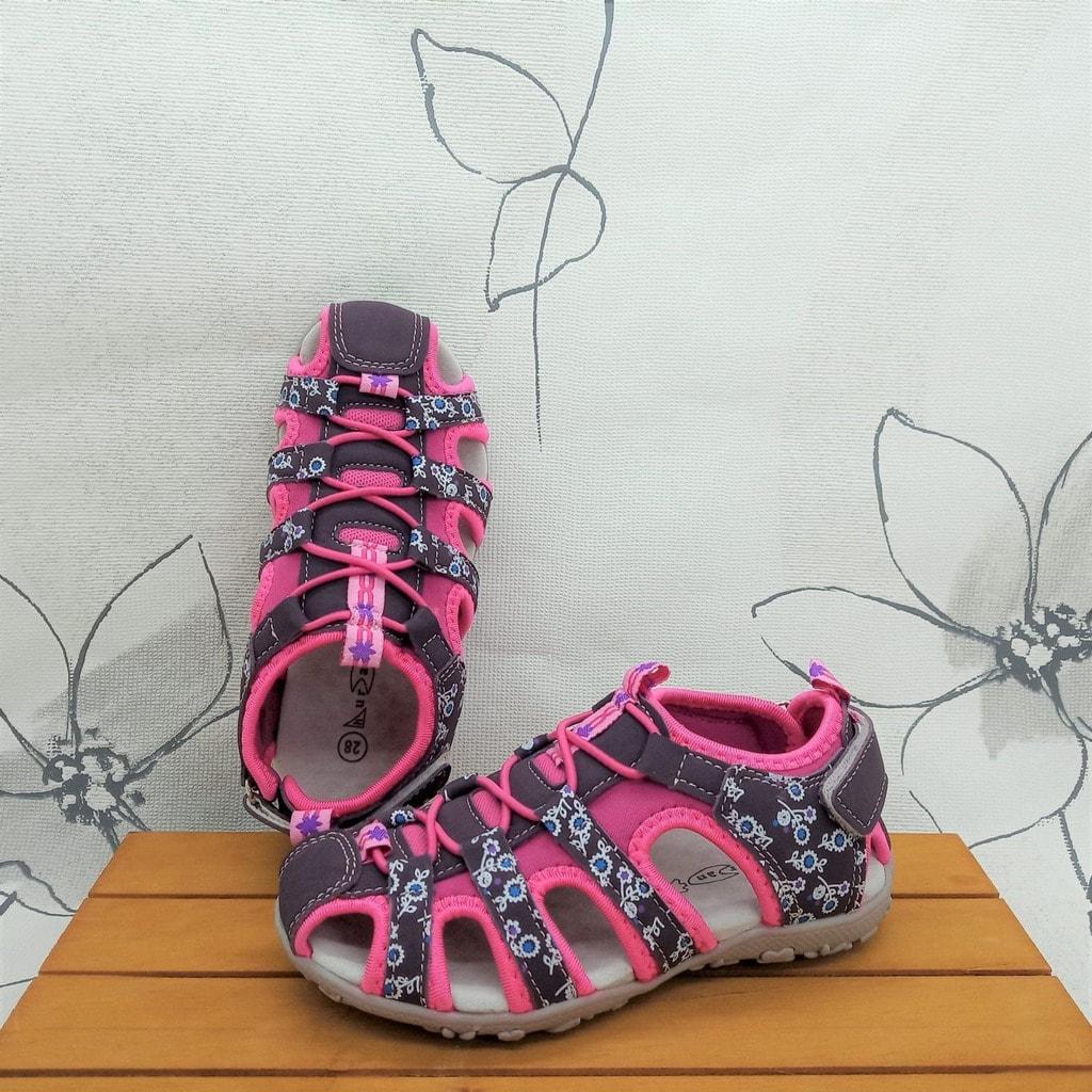 Sandalias cangrejeras de niña en rosa