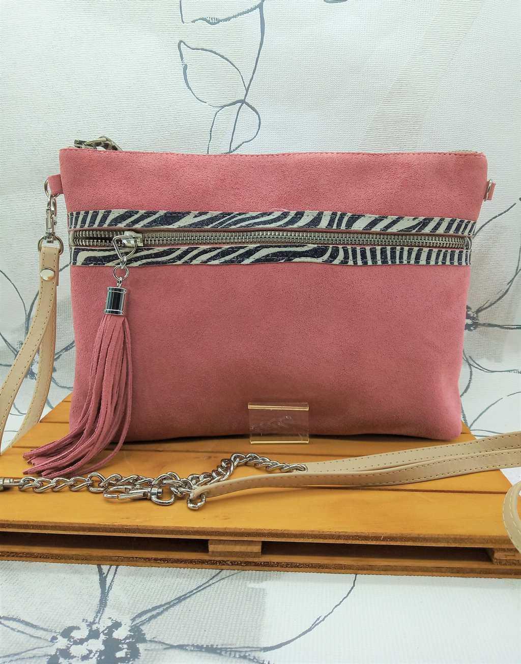 Bolso hecho a mano en serraje rosa y cebra