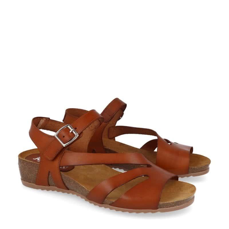 Sandalia de señora en piel marron -Planta bio -M.3243     Solo talla 39