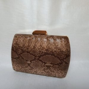 Clutch-marron-serpiente-dorado